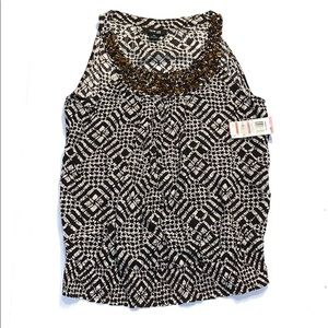 Style & Co Black and White Tank Blouse 10P